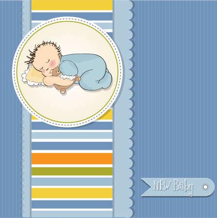 little baby boy sleep with his teddy bear toy Stock Vector - 12599328