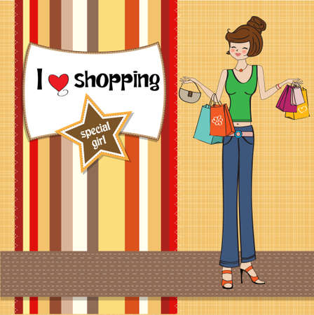 happy birthday girl: pretty young lady at shopping