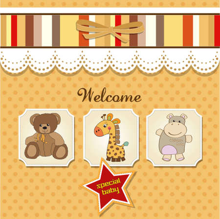 vintage baby: baby shower card with toys