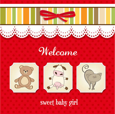 baby shower card with toys Stock Vector - 12599398