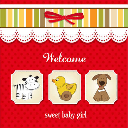 strip a dog: baby shower card with toys