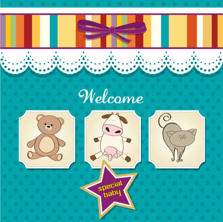 baby shower card with toys  Stock Vector - 12599422