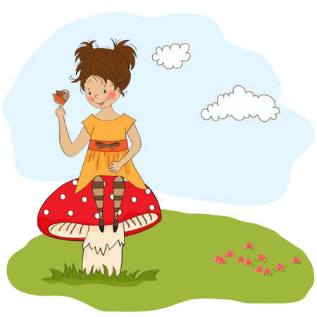 pretty young girl sitting on a mushroom and talking to a little bird Illustration