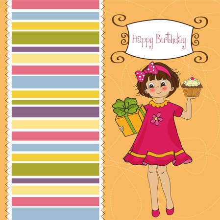 chocolate box: birthday greeting card with girl and big cupcake