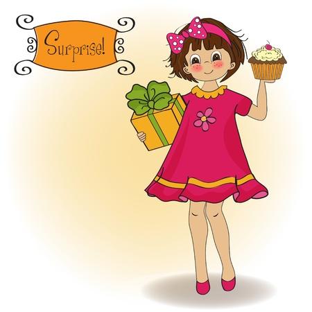 미니: 소녀와 큰 컵 케이크와 함께 생일 인사