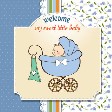 special event: baby boy announcement card with baby and pram