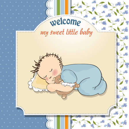little baby boy sleep with his teddy bear toy  Stock Vector - 12599642