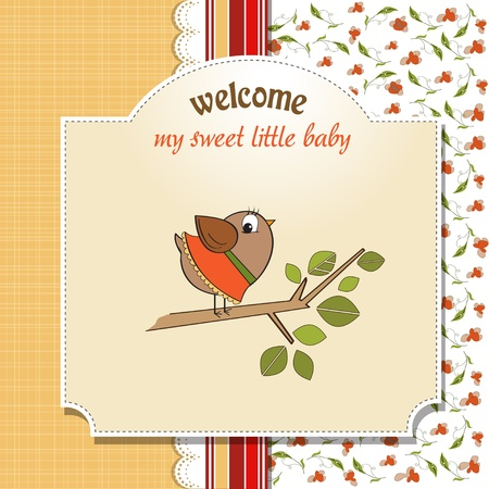 little bird: Bienvenido beb� tarjeta con pajarito divertida