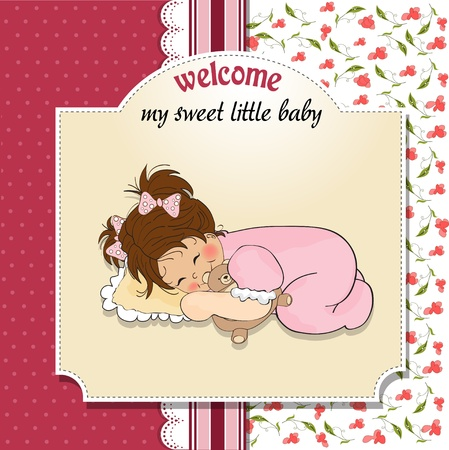nestling: little baby girl play with her teddy bear toy  Illustration