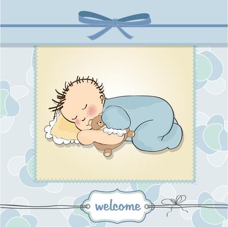 little baby boy sleep with his teddy bear toy Stock Vector - 12599407