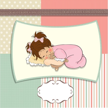 young girl: little baby girl play with her teddy bear toy  Illustration