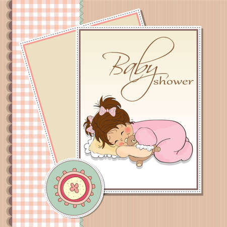 greetings card: little baby girl play with her teddy bear toy  Illustration