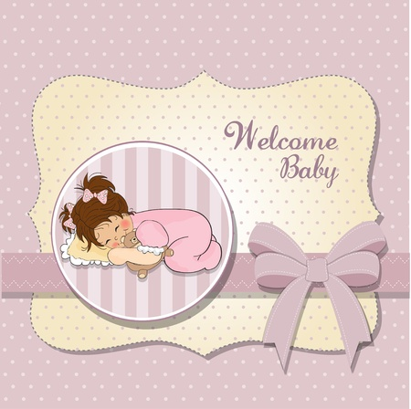 little baby girl play with her teddy bear toy  Vector