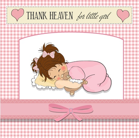 nice girls: little baby girl play with her teddy bear toy  Illustration