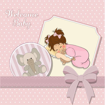 little baby girl play with her teddy bear toy  Ilustração