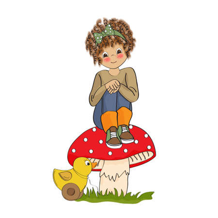sublime: pretty young girl sitting on a mushroom