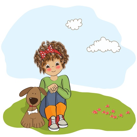 siting: curly little girl and her dog