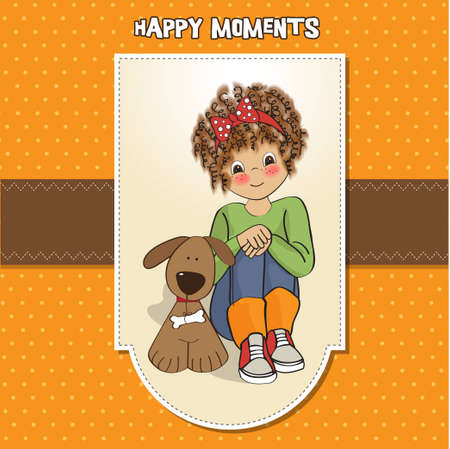 curly little girl and her dog  Stock Vector - 12599704
