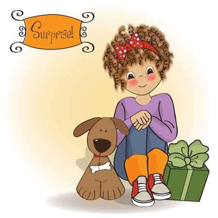 birthday greeting card with pretty little girl