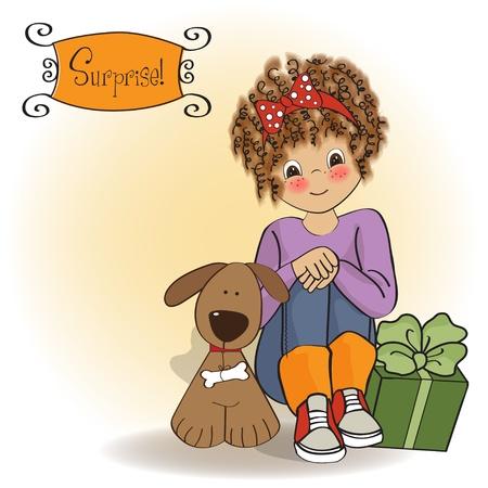 pretty little girl: birthday greeting card with pretty little girl