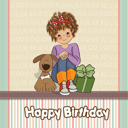 happy moment: birthday greeting card with pretty little girl