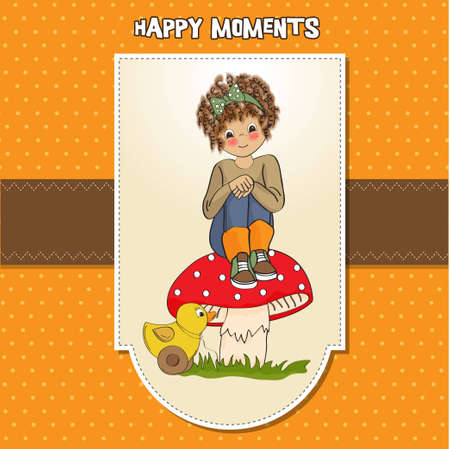 pretty young girl sitting on a mushroom  Stock Vector - 12599670