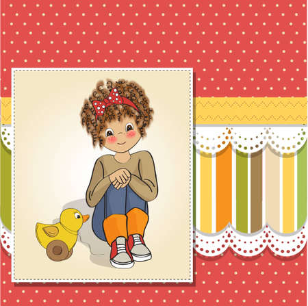 siting: curly girl play with her duck toy Illustration