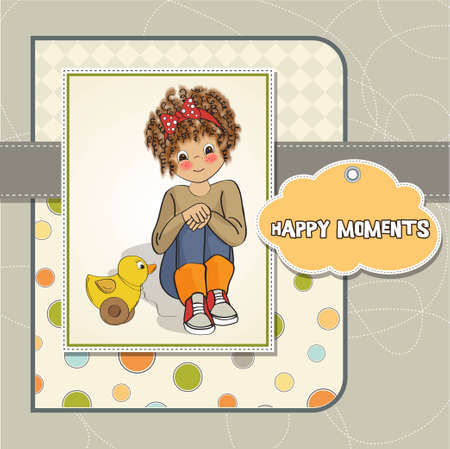 moments: curly girl play with her duck toy Illustration