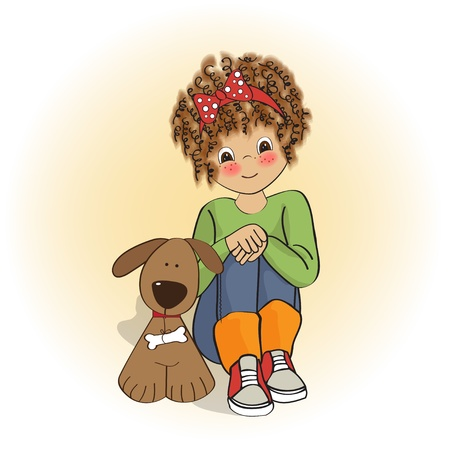 curly little girl and her dog Stock Vector - 12599284