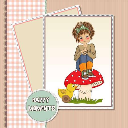 siting: pretty young girl sitting on a mushroom