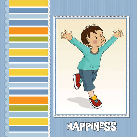 happy little boy who runs