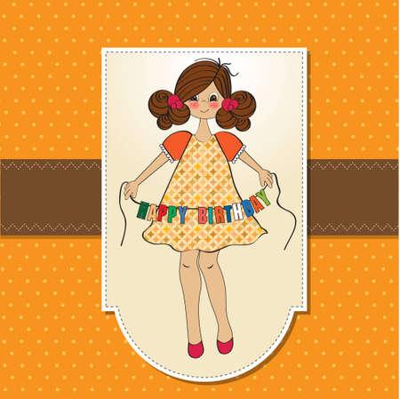 birth announcement: cute little girl wishing you happy birthday  Illustration