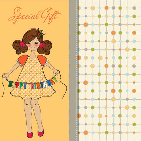pretty young girl: cute little girl wishing you happy birthday  Illustration