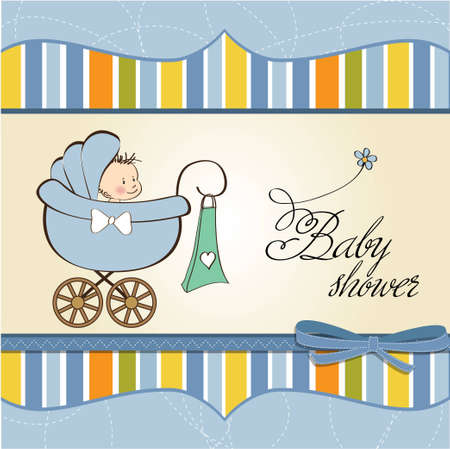 baby boy announcement card with baby and pram