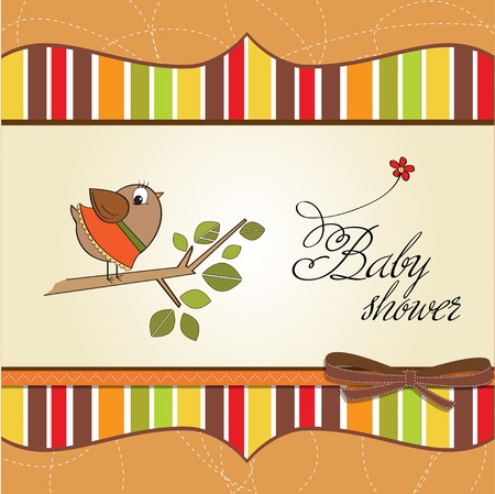 welcome baby card with funny little bird Stock Vector - 12669648