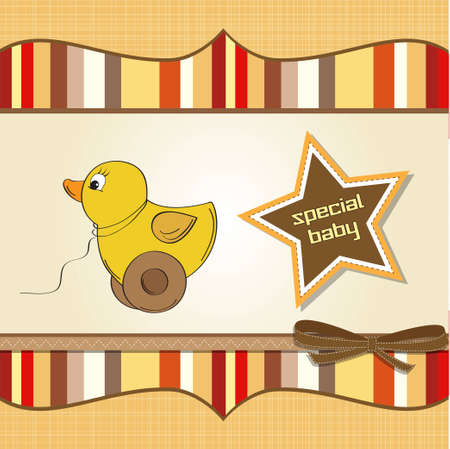 welcome baby card with duck toy  Vector