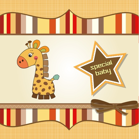 childish baby shower card with giraffe  Vector