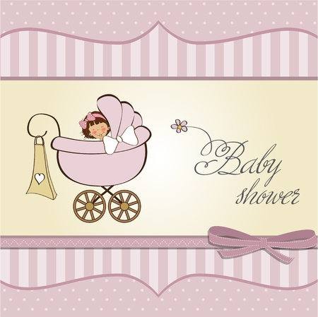 baby girl announcement card Stock Vector - 12669688