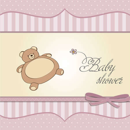 moments: baby girl shower card with teddy