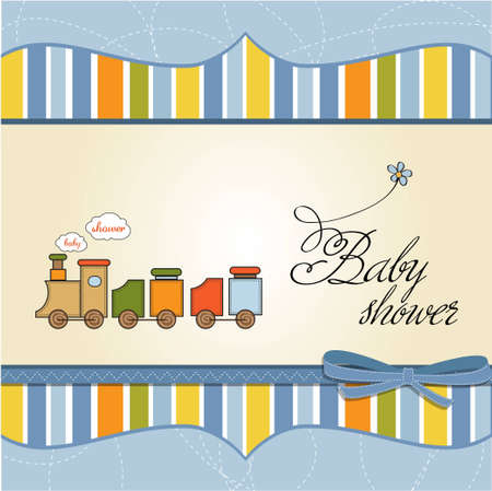 toy train: baby boy shower card with toy train  Illustration