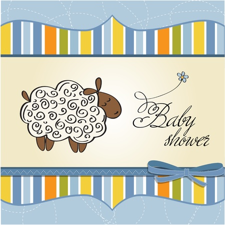 cute baby shower card with sheep Stock Vector - 12669647