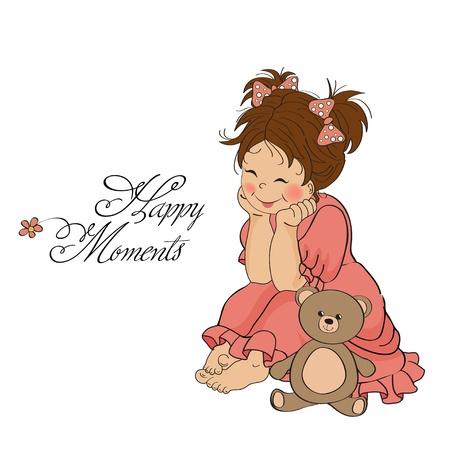 小さな女の赤ちゃん彼女のテディー ・ ベアのおもちゃで遊ぶ