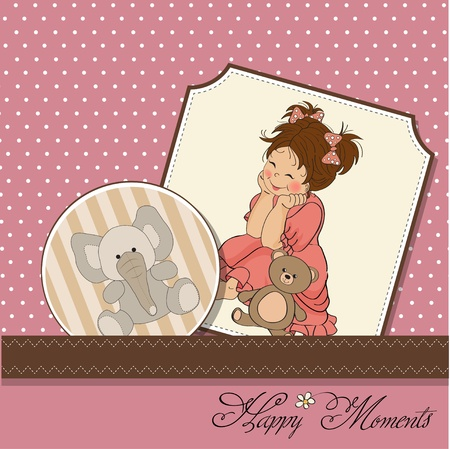 innocent girl: little baby girl play with her teddy bear toy  Illustration