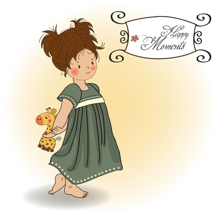 young girl going to bed with her favorite toy, a giraffe Stock Vector - 12704269