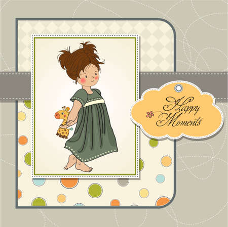 young girl going to bed with her favorite toy, a giraffe  Vector