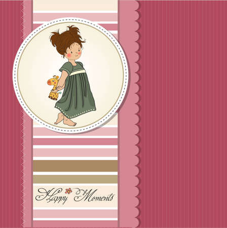 baby romantic: young girl going to bed with her favorite toy, a giraffe  Illustration