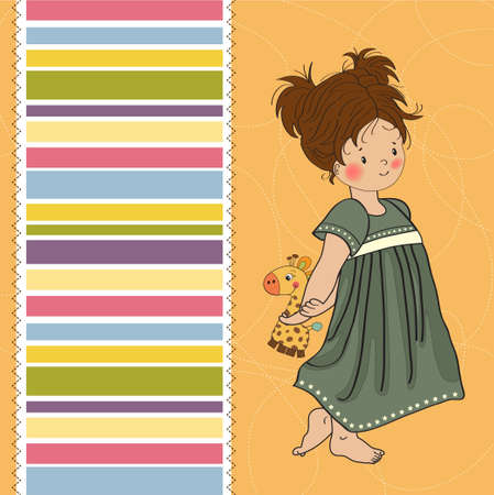 and barefoot: young girl going to bed with her favorite toy, a giraffe  Illustration