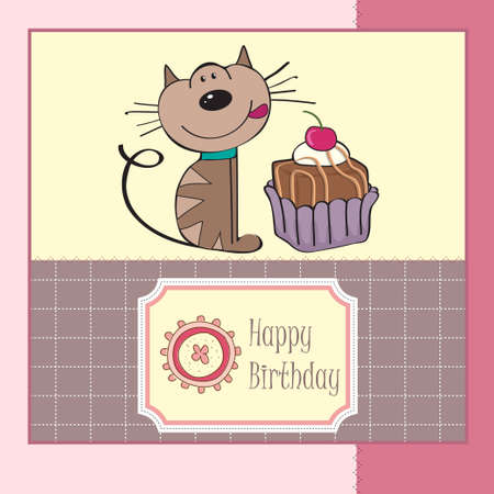 birthday greeting card with a cat waiting to eat a cake  Vector