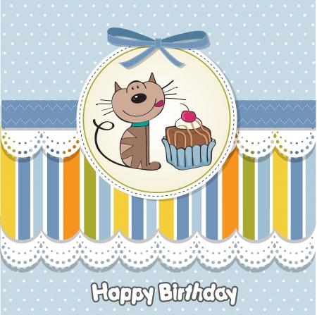 Geburtstags-Grußkarte mit einer Katze warten, um einen Kuchen zu essen Vektorgrafik