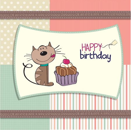 funny birthday: birthday greeting card with a cat waiting to eat a cake